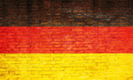 Germany national flag painted on a brick wall. 3d illustration