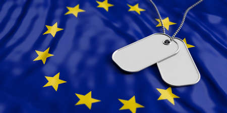 European Union army concept, Blank identification tags on waiving EU flag background. 3d illustration