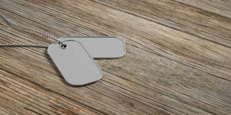 Military concept, Blank identification dog tags on wooden background. 3d illustration