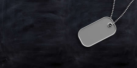 Military concept, Blank identification dog tag on black background. 3d illustration
