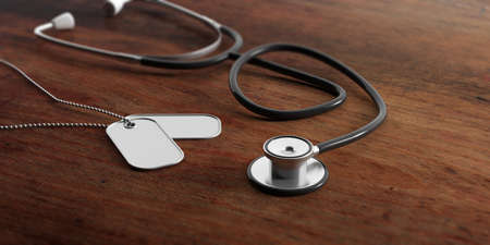 Health in the army concept. Blank identification tags and stethoscope on wooden background. 3d illustration Stok Fotoğraf