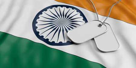 India army concept, Blank identification tags on waiving India flag background. 3d illustration