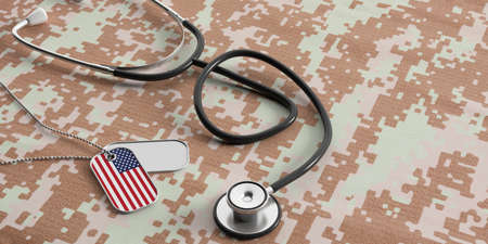 USA army concept. American flag identification dog tags and stethoscope on digital camouflage fabric. 3d illustration