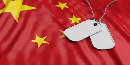 China army concept, Blank identification tags on waiving China flag background. 3d illustration