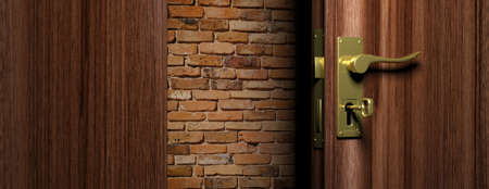 No way out concept. Brick wall out of an open wooden door with bronze handle and key, 3d illustration