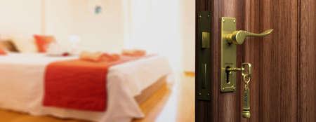Hotel doorway with half opened door, blur bedroom background. 3d illustration 스톡 콘텐츠