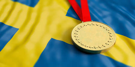 Gold medal on waving Sweden flag. Horizontal, full frame, closeup view. 3d illustration Stock Photo