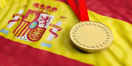 Gold medal on waving Spain flag. Horizontal, full frame, closeup view. 3d illustration Stock Photo