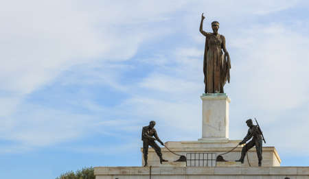 Liberty Monument in the city of Nicosia in Cyprus. Closeup view. Editorial