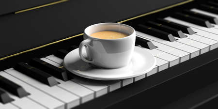 Cup of coffee on a black piano keyboard. 3d illustration Banque d'images