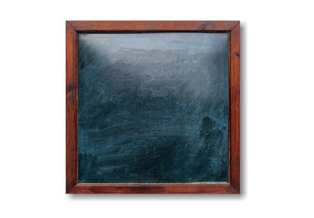 Blank wooden frame on the wall. Blackboard inside and white background, space for text.