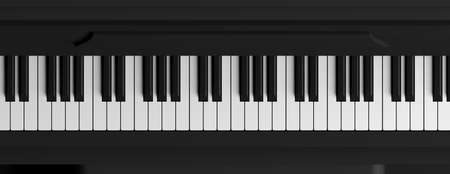 Black piano top view. Piano keys banner. 3d illustration