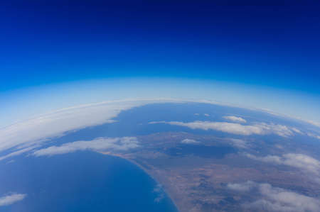 Curvature of planet earth. Aerial shot. Stock Photo