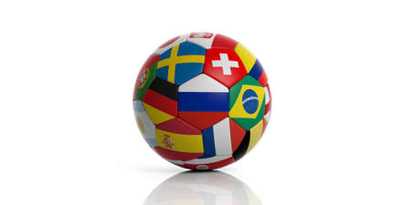 Soccer football ball with world teams flags isolated on white background. 3d illustration Фото со стока