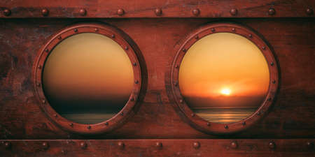 Boat portholes metal background, Calm sea at sunset or sunrise out of the windows. 3d illustration Stock Photo