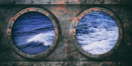 Rusty submarine portholes metal background, Wavy sea out of the portholes. 3d illustration
