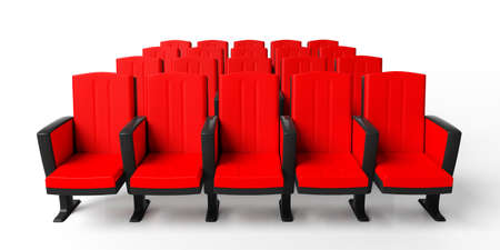Red theater chairs isolated on white background, view from above. 3d illustration