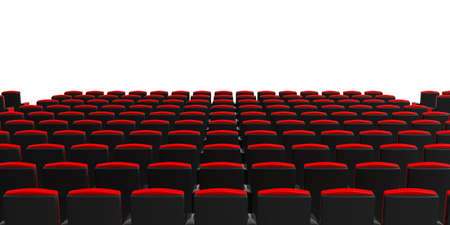 Red theater chairs on white background, view from behind, copyspace. 3d illustration Stock Photo