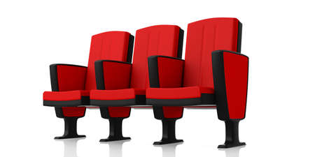 Red theater chairs isolated on white background, perspective view. 3d illustration