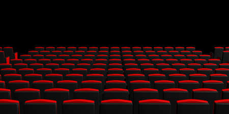 Red theater chairs on dark background, view from behind, copyspace. 3d illustration