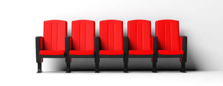 Red theater chairs isolated on white background, front view. 3d illustration