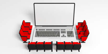 Home cinema or webinar concept. Cinema chairs around a laptop, blank white screen for copyspace, white background. 3d illustration 스톡 콘텐츠