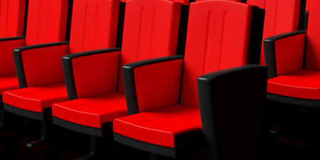 Red theater chairs background, perspective view. 3d illustration Stock Photo