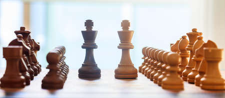 Chessboard blurred with chess pieces on it. Close up view with details, white backdrop. Banque d'images