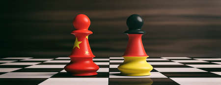 China and Germany cooperation concept. China and Germany flags on chess pawns soldiers on a chessboard. 3d illustration