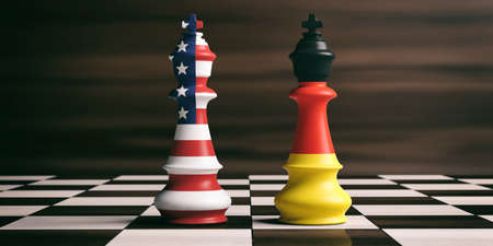 USA and Germany cooperation concept. US America and Germany flags on chess kings on a chess board, brown wooden background. 3d illustration