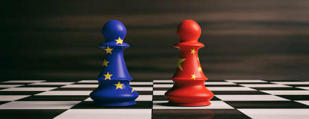 China and EU cooperation concept. China and European Union flags on chess pawns soldiers on a chessboard. 3d illustration