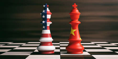USA and China cooperation concept. US America and China flags on chess kings on a chess board, brown wooden background. 3d illustration Stok Fotoğraf