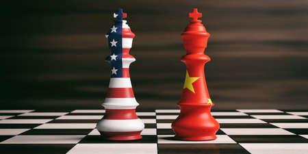 VS en China samenwerkingsconcept. Vlaggen van de VS Amerika en China op schaakkoningen op een schaakbord, bruine houten achtergrond. 3D illustratie Stockfoto