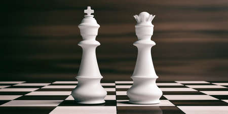 White chess king and queen on a chess board, brown wooden background. 3d illustration Stok Fotoğraf