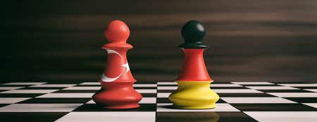 Turkije en Duitsland samenwerkingsconcept. Turkije en Duitsland vlaggen op schaken pionnen soldaten op een schaakbord. 3D illustratie