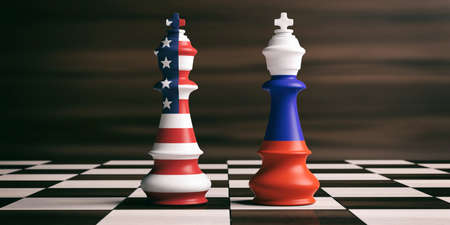 USA and Russia cooperation concept, US America and Russia flags on chess kings on a chess board, brown wooden background. 3d illustration Foto de archivo