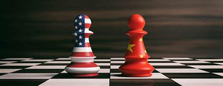 EUA e o conceito de cooperação da China. Bandeiras da América dos EUA e da China em peões de xadrez soldados em um tabuleiro de xadrez. Ilustração 3d