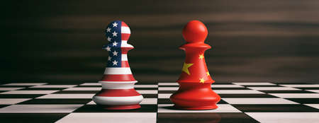 Koncepcja współpracy USA i Chin. Amerykańskie i chińskie flagi na szachowych pionkach żołnierzy na szachownicy. Ilustracja 3D