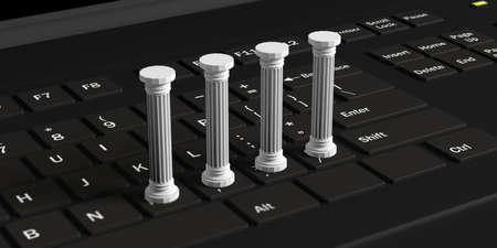 黒いコンピュータのキーボード上の4つの白い古典的な柱。3Dイラスト