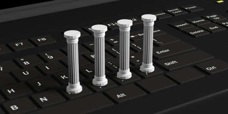 Four white classical pillars on a black computer keyboard. 3d illustration