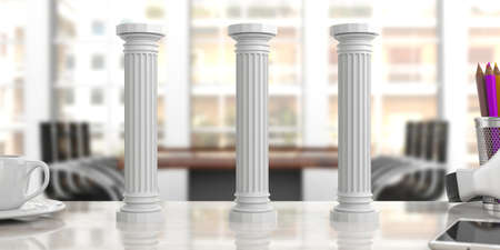 Sustainability concept.Three classical pillars on an office desk, blurred background. 3d illustration