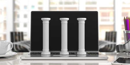 サステナビリティの概念。コンピュータ上の3つの古典的な柱、ぼかしオフィスの背景。3Dイラスト 写真素材