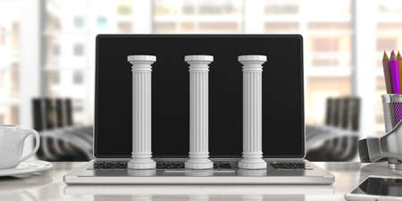 Sustainability concept.Three classical pillars on a computer, blur office background. 3d illustration 스톡 콘텐츠