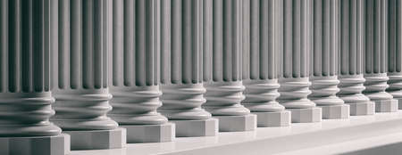 Courthouse facade.Marble classical pillars row with steps. 3d illustration Imagens