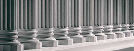 Facciata del tribunale. Fila di colonne classiche in marmo con gradini. Illustrazione 3D Archivio Fotografico - 93631705