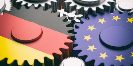 EU and Germany relations concept. European Union and Germany flags on metal gears. 3d illustration Stock Photo