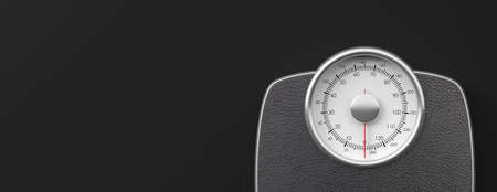 Weight control concept. Bathroom scale isolated on black background, banner, space for text. 3d illustration Stock Photo