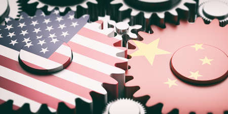 China and USA relations concept. China and US of America flags on metal gears. 3d illustration