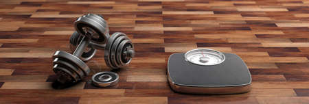 Fitness concept. Bathroom scale and dumbbells isolated on wooden background, banner. 3d illustration Stock Photo