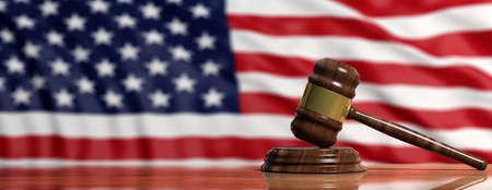 Judge or auction gavel on United states of America waving flag background. 3d illustration